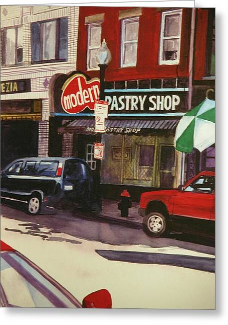 Modern Pastry Shop Boston Greeting Card by Walt Maes