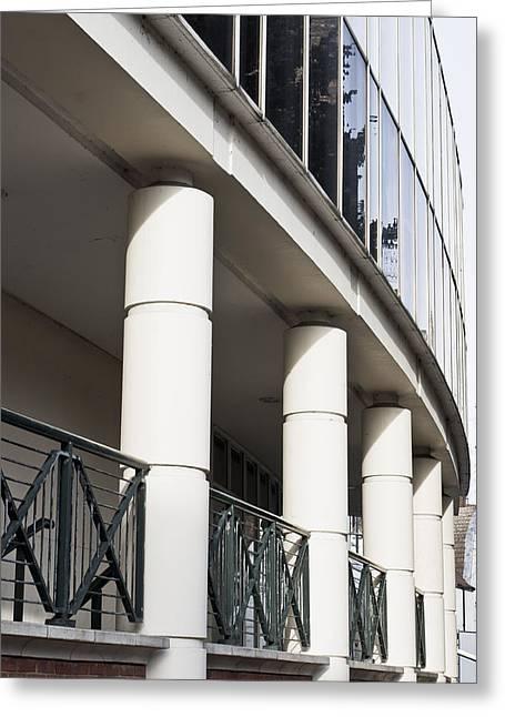 Modern Pillars Greeting Card by Tom Gowanlock