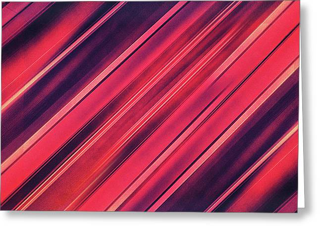 Modern Red Black Stripe Abstract Stream Lines Texture Design  Greeting Card by Philipp Rietz