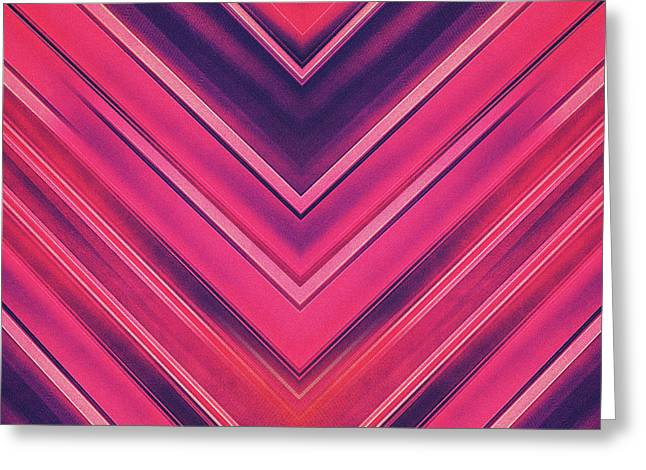 Modern Red Black Stripe Abstract Stream Lines Texture Design Symmetric Edition Greeting Card by Philipp Rietz