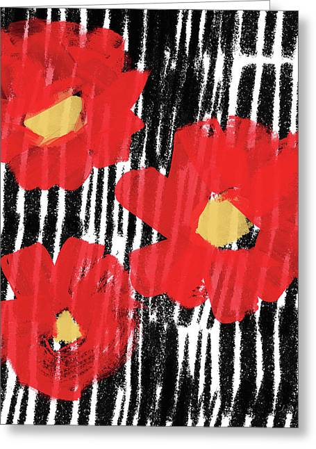 Greeting Card featuring the mixed media Modern Red Flowers- Art By Linda Woods by Linda Woods