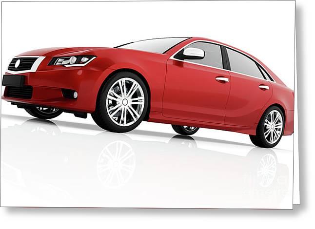 Modern Red Metallic Sedan Car In Spotlight. Generic Desing, Brandless. Greeting Card by Michal Bednarek