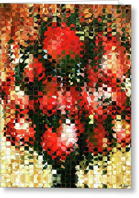Modern Red Poppies - Pieces 4 - Sharon Cummings Greeting Card by Sharon Cummings