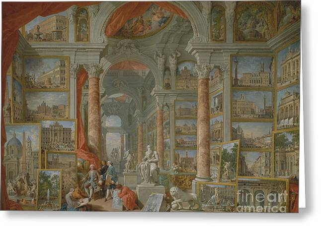 Modern Rome, 1757 Greeting Card by Giovanni Paolo Pannini