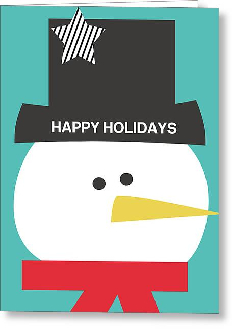 Modern Snowman Happy Holidays- Art By Linda Woods Greeting Card