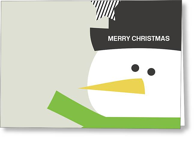 Modern Snowman Merry Christmas- Art By Linda Woods Greeting Card by Linda Woods
