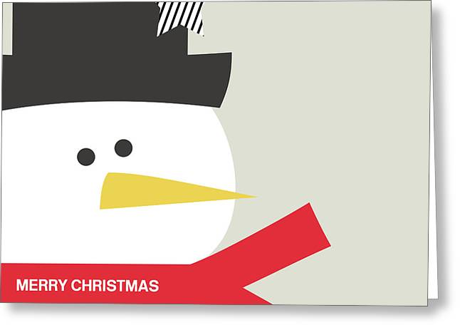 Modern Snowman Merry Christmas Red- Art By Linda Woods Greeting Card