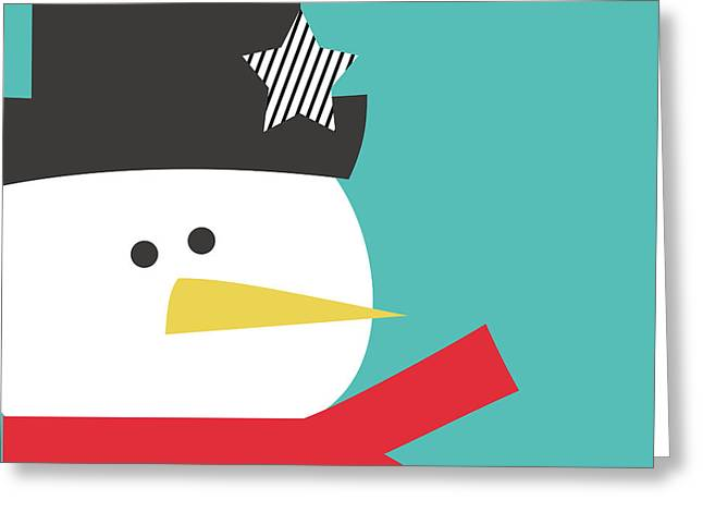Modern Snowman With Star- Art By Linda Woods Greeting Card