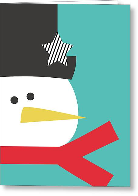 Modern Snowman With Star- Art By Linda Woods Greeting Card by Linda Woods