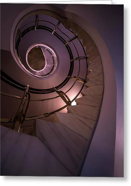 Modern Staircase In Violet And Golden Tones Greeting Card