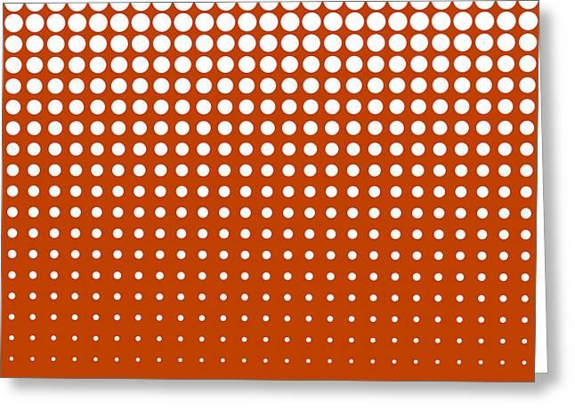 Modern Techno Shrinking Polka Dots White On Mahogany Greeting Card by Heidi De Leeuw