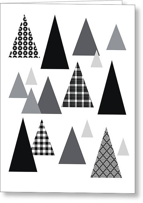 Modern Triangle Trees- Art By Linda Woods Greeting Card