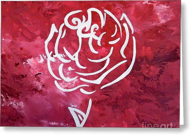 Modern White Rose Greeting Card by Jilian Cramb - AMothersFineArt