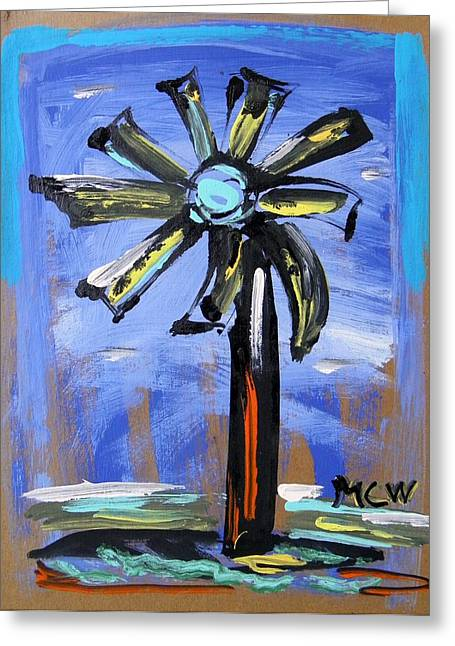 Greeting Card featuring the painting Modern Wind Power by Mary Carol Williams