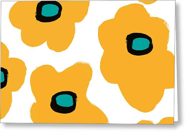 Modern Yellow Flowers- Art By Linda Woods Greeting Card by Linda Woods
