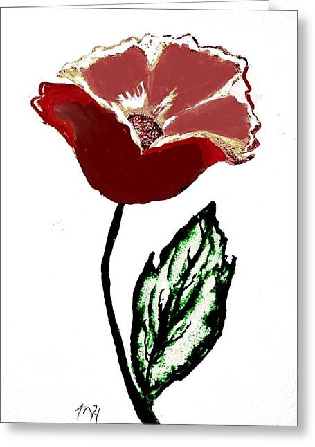 Greeting Card featuring the drawing Modernized Flower by Marsha Heiken