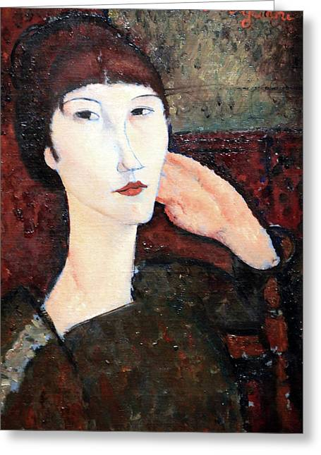 Modigliani's Adrienne -- Woman With Bangs Greeting Card