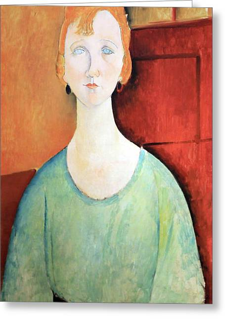 Modigliani's Girl In A Green Blouse Greeting Card