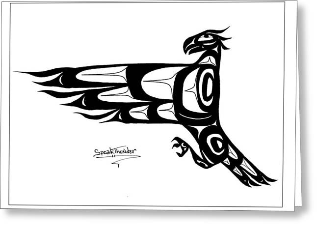 Speakthunder Berry Greeting Cards - Mohawk Eagle black Greeting Card by Speakthunder Berry