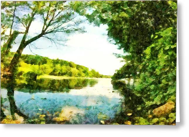 Greeting Card featuring the photograph Mohegan Lake By The Bridge by Derek Gedney