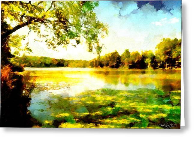 Greeting Card featuring the painting Mohegan Lake Hidden Oasis by Derek Gedney
