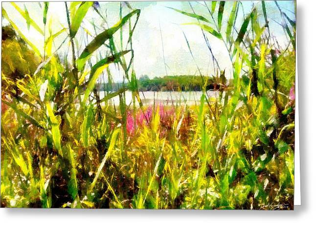 Greeting Card featuring the painting Mohegan Lake In The Brush by Derek Gedney