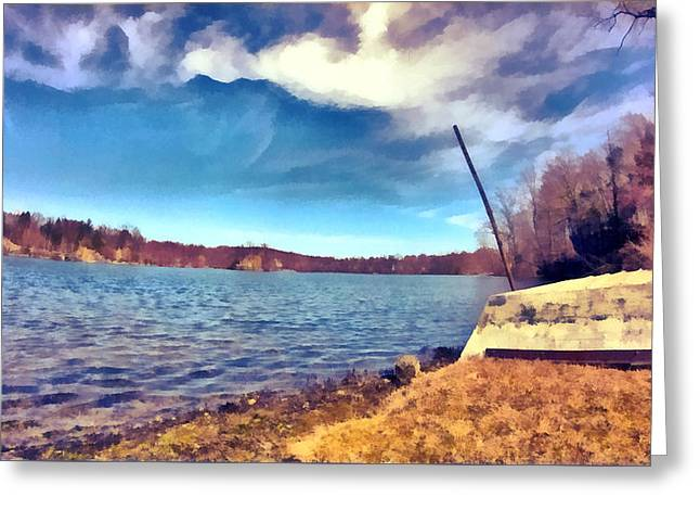 Greeting Card featuring the painting Mohegan Lake Lonely Boat by Derek Gedney