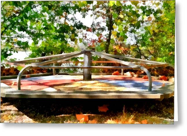 Greeting Card featuring the painting Mohegan Lake Merry-go-round by Derek Gedney