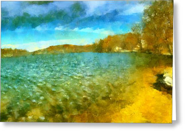 Greeting Card featuring the painting Mohegan Lake Panoramic Beach by Derek Gedney