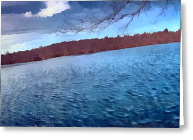 Greeting Card featuring the painting Mohegan Lake Panoramic Lake by Derek Gedney