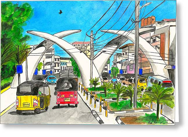Moi Ave, Mombasa Tusks  Greeting Card