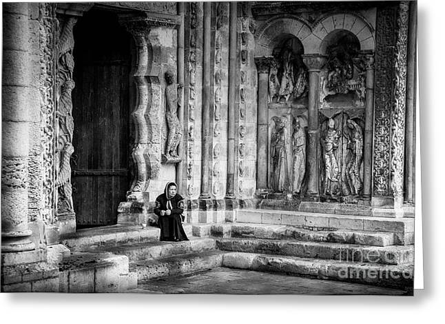 Moissac Abbey Entrance Bw Greeting Card
