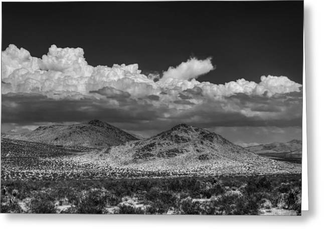 Greeting Card featuring the photograph Mojave 020 Bw by Lance Vaughn