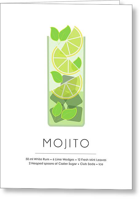 Mojito Classic Cocktail - Minimalist Print Greeting Card