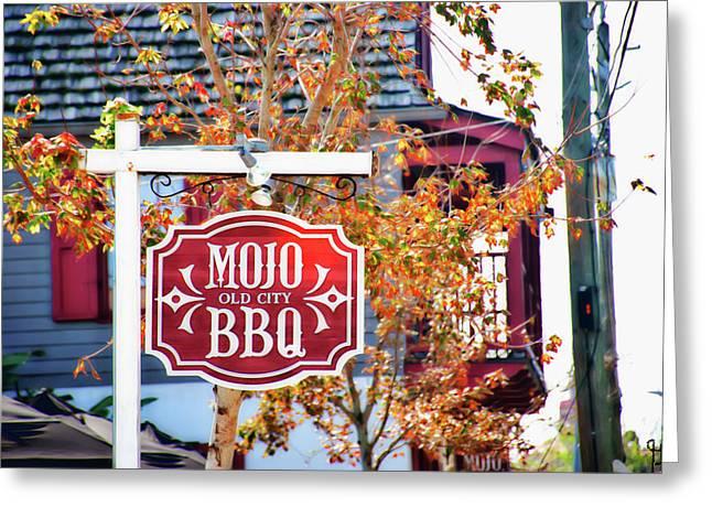 Mojo Old City Bbq Sign Greeting Card