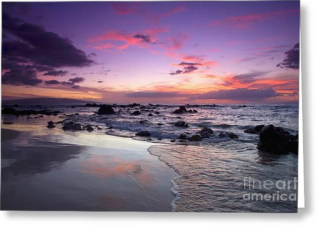 Mokapu Beach Sunset Greeting Card by Ron Dahlquist - Printscapes