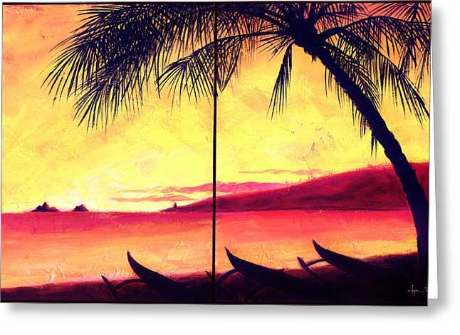 Mokulua Sundown Greeting Card by Angela Treat Lyon