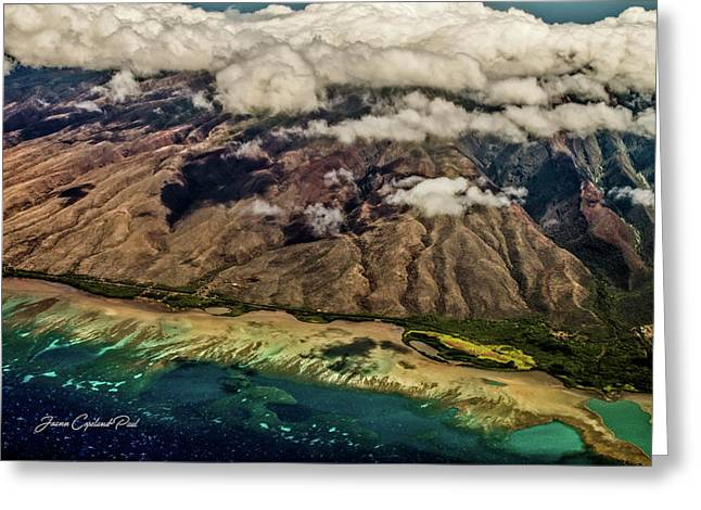 Greeting Card featuring the photograph Molokai From The Sky by Joann Copeland-Paul