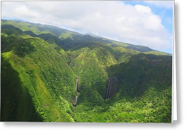 Molokai Island Waterfalls Greeting Card by Stacia Blase