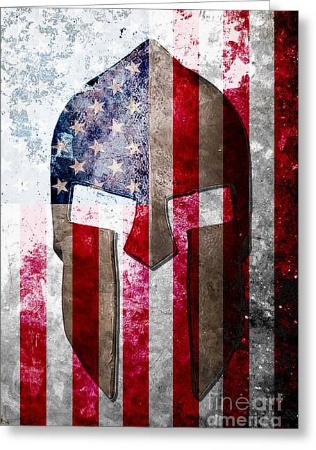 Molon Labe - Spartan Helmet Across An American Flag On Distressed Metal Sheet Greeting Card