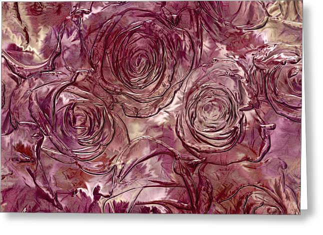 Molten Roses Abstract Realism Greeting Card by Georgiana Romanovna