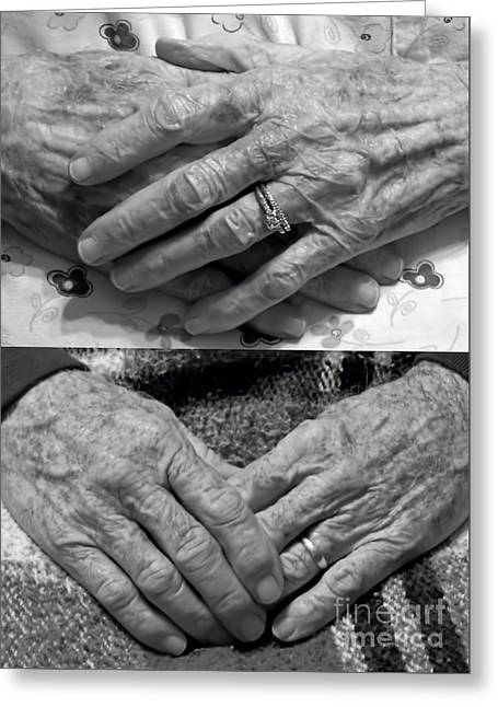 Mom And Dads Hands Greeting Card by D Hackett