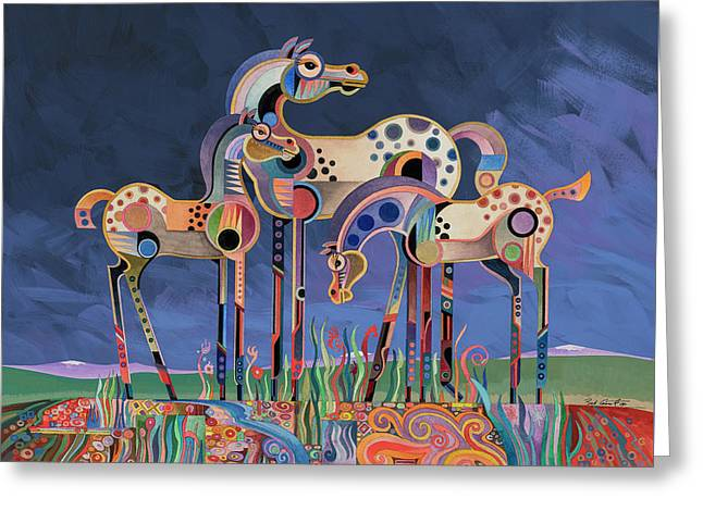 Mom And Foals Greeting Card by Bob Coonts