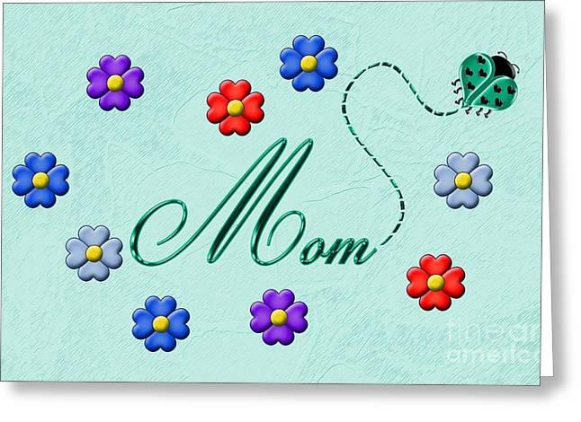 Mom Aqua Ladybug Card Greeting Card by Chere Lei