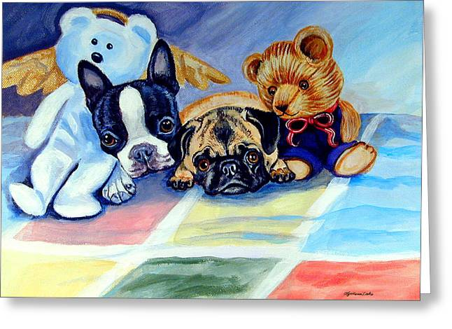 Mom Can She Stay Over - Pug And Boston Terrier Greeting Card by Lyn Cook