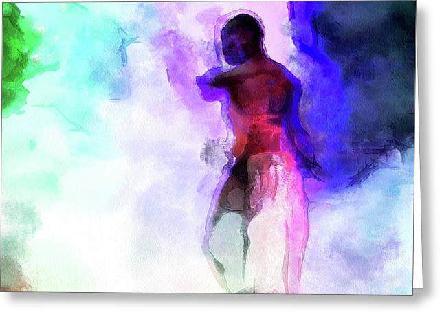 Moment In Blue - African Dancer Greeting Card