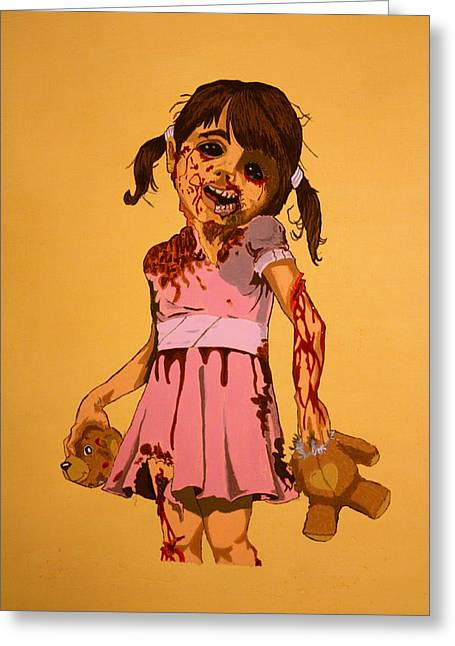 Thriller Paintings Greeting Cards - Momma can I kill tonight Greeting Card by Shawn OLeary