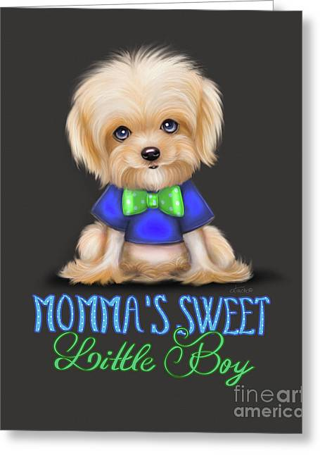 Greeting Card featuring the painting Mommas Sweet Little Boy by Catia Lee