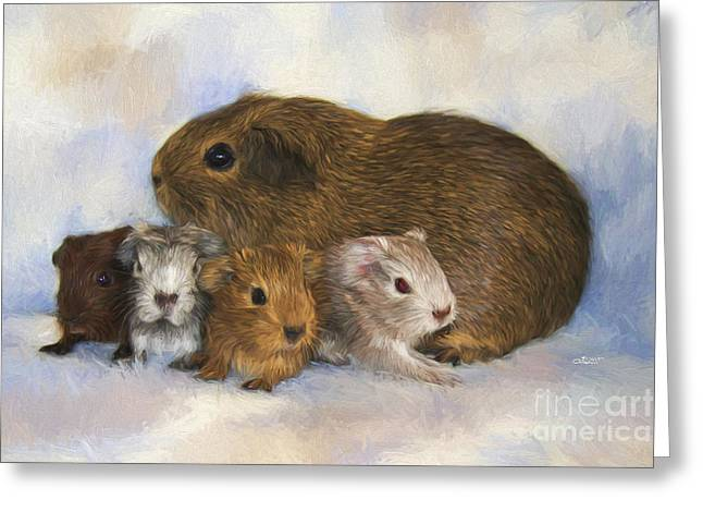 Mommy With Children Greeting Card by Jutta Maria Pusl