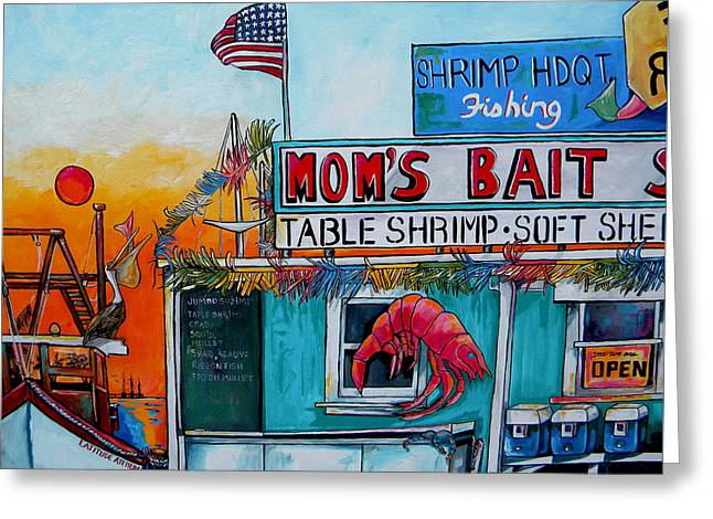Moms Bait Shop Greeting Card by Patti Schermerhorn